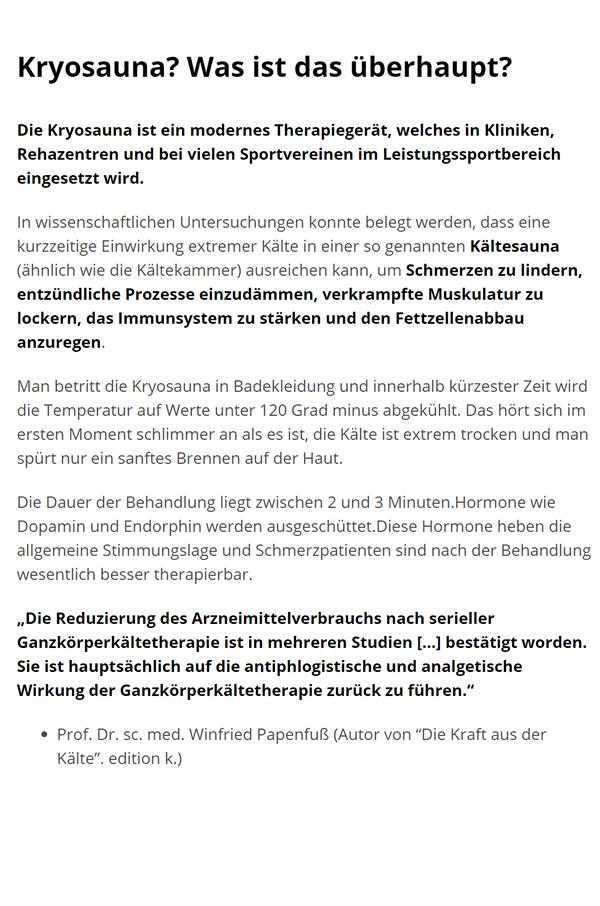 Ganzkoerperkältetherapie  in  Stuttgart