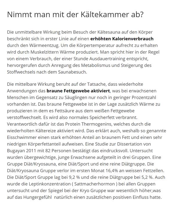 Kältekammer Fett abbauen für 70173 Stuttgart